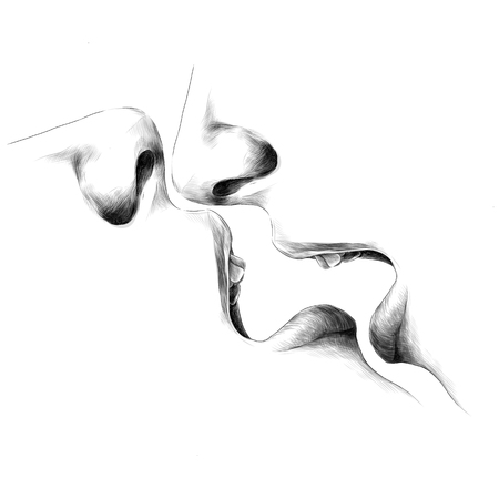 face open mouth lips nose passion sex reflection sketch vector graphics monochrome black-and-white drawing Stock Illustratie