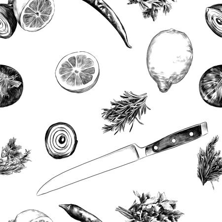 レモンペッパーパセリオニオンナイフ、スケッチ。ベクターグラフィックモノクロ、白黒描画。