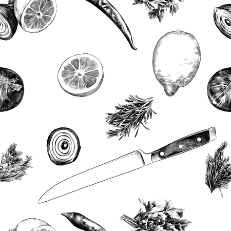 Lemon pepper parsley onion knife, sketch. Vector graphics monochrome, black-and-white drawing. 스톡 콘텐츠 - 95812234