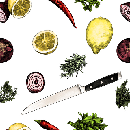lemon pepper parsley onion knife green sketch vector graphics color picture Illustration