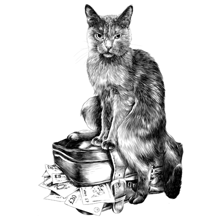 The cat with the money, sketch. Vector graphics monochrome, black-and-white drawing. Vectores