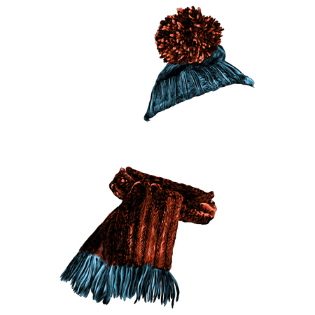 Hat and scarf set winter clothes, sketch. Vector graphics, color picture.