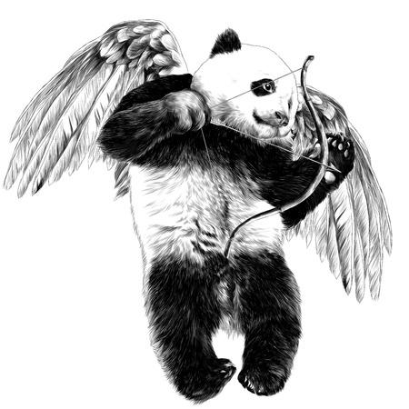 Panda Engel mit Flügeln und einem Bogen fliegt Skizze Vektor Grafik monochrome Zeichnung Standard-Bild - 95649561