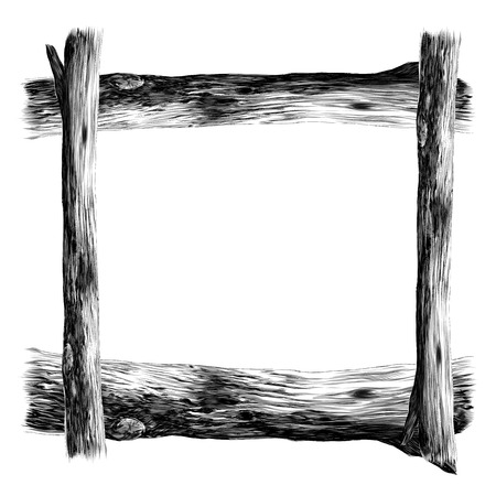 Wooden frame sketch vector graphics monochrome black-and-white drawing
