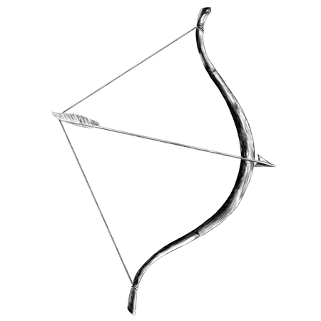 Bow with arrow tip pen sketch vector graphics monochrome drawing