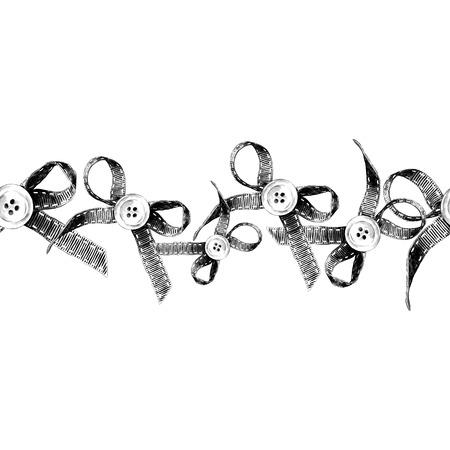 Kant een naadloos element aan de zijkant in de vorm van een strook strikken met knop in het midden, schets zwart-wit vectorafbeeldingen met aanrakingen Stock Illustratie