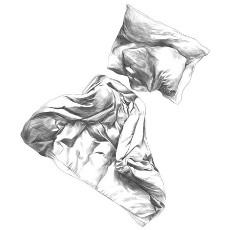 キルトと枕スケッチベクトル