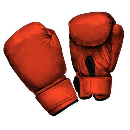 ボクシング手袋スケッチベクトルグラフィックスカラー画像