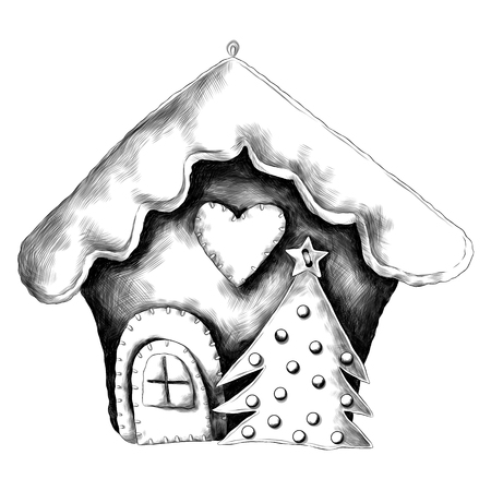 Rag Christmas house sketch vector graphics monochrome picture