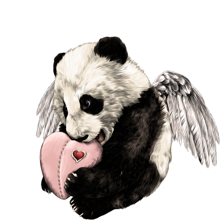 Panda with wings sits and holds in paws heart sketch vector graphics color picture