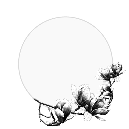 Round frame decorated with Magnolia flowers. Sketch vector. Ilustração