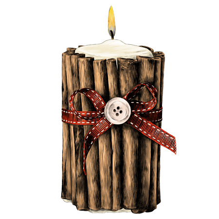 Decorative candle with cinnamon sticks and red bow sketch graphics colored drawing strokes