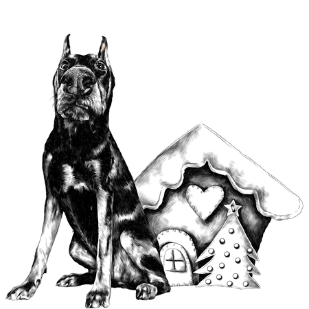 Dog breed doberman standing next to a Christmas toy house in full-length sketch graphics, black and white drawing