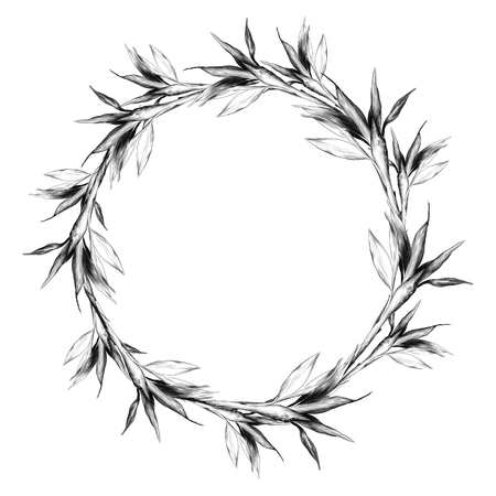 Leaves branches stem bamboo pattern flowers texture frame seamless sketch vector graphics monochrome black-and-white drawing Stockfoto - 95649709
