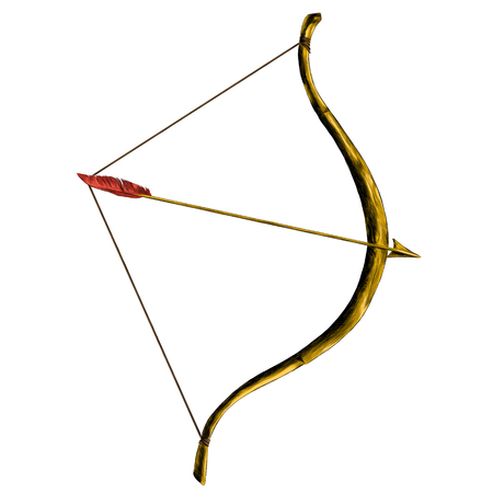 bow with arrow tip pen sketch vector graphics color picture