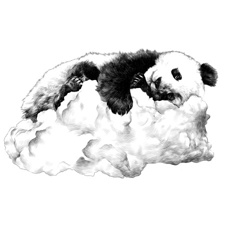 Panda sleeping on the cloud sketch vector graphics monochrome drawing Illustration