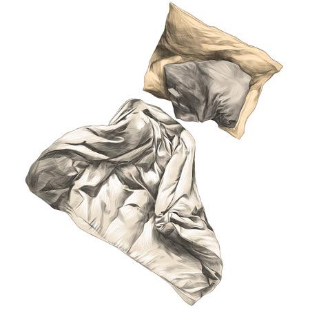 犬のグラフィック色の絵のキルトと枕スケッチ