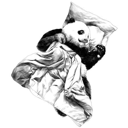Panda lying under the blanket sketch vector graphics monochrome black-and-white drawing Ilustração