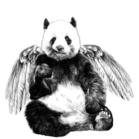 cute Panda with angel wings with a smile sitting full length, sketch vector graphics monochrome illustration on a white background Illustration