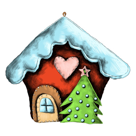 Rag Christmas house sketch graphics colored picture