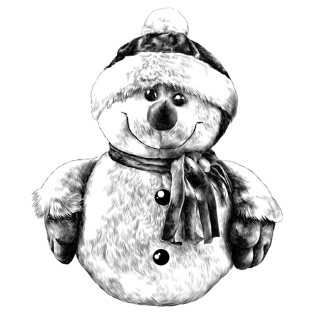 Rag snowman hand-stitched in a cap and scarf sketch vector graphics monochrome drawing