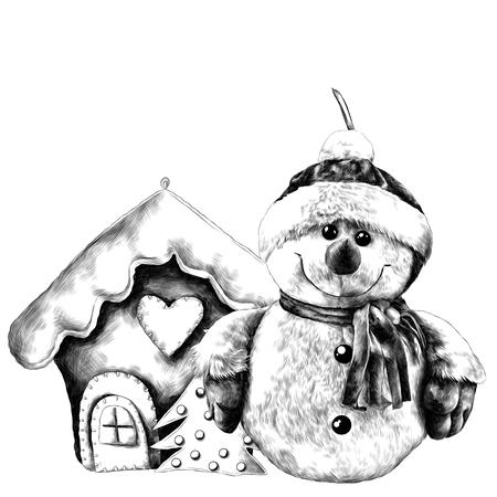 Snowman near Christmas toy house. Sketch vector.