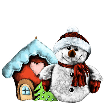 rag snowman near Christmas toy house sketch vector graphics color drawing Reklamní fotografie - 95809888