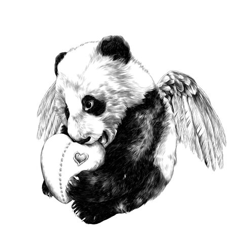cute little Panda with angel wings sitting at full height and holding a toy heart in its paws, sketch vector graphics monochrome illustration on a white background