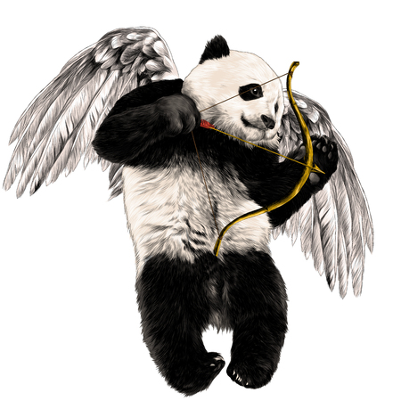 Panda angel with wings and a bow flies sketch vector graphics color picture