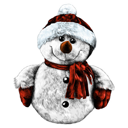 Rag snowman hand-stitched in a cap and scarf sketch vector graphics color picture Stok Fotoğraf - 95649800