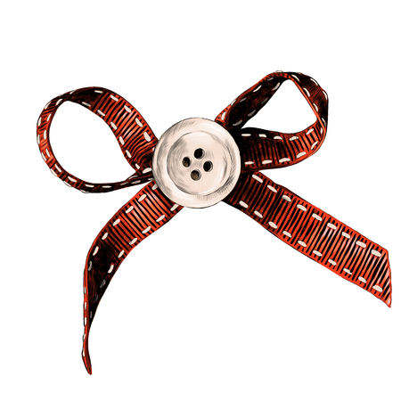 red rag bow with white button in the middle of the sketch vector graphics color drawing strokes