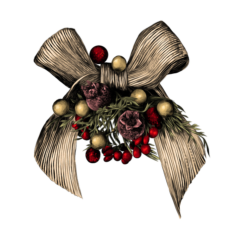 Christmas bow decorated with berries sketch graphics colored picture