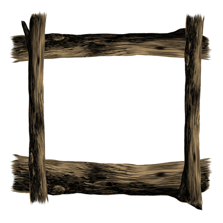 Wooden square frame sketch graphics colored picture Illustration