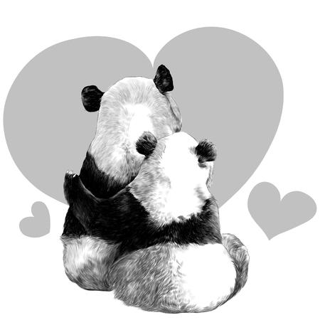 twee panda's zitten in elkaars armen met haar rug schets vector graphics zwart-wit tekening