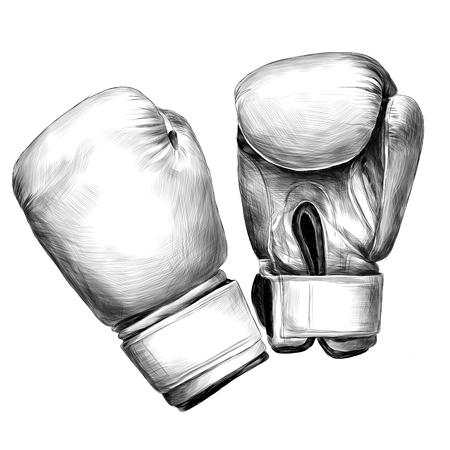 ボクシンググローブスケッチベクターグラフィックモノクロ白黒描画