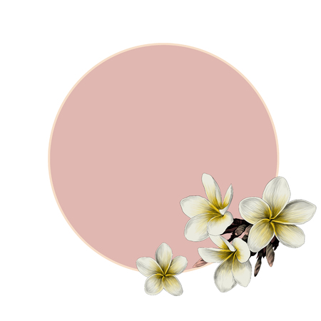 Round frame decorated with Magnolia flowers sketch vector graphics color picture