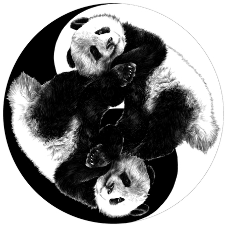 two pandas are on the sign Yin-Yang sketch vector graphics monochrome drawing Иллюстрация