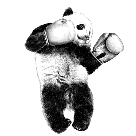 Panda sketch vector graphics monochrome black-and-white drawing Ilustração