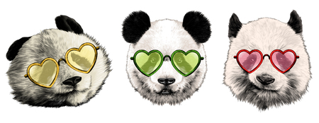Three pandas with glasses. Sketch vector.