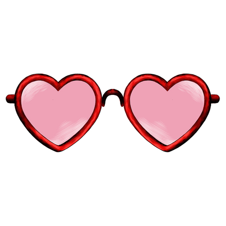 Glasses heart shape sketch vector graphics color picture Ilustração