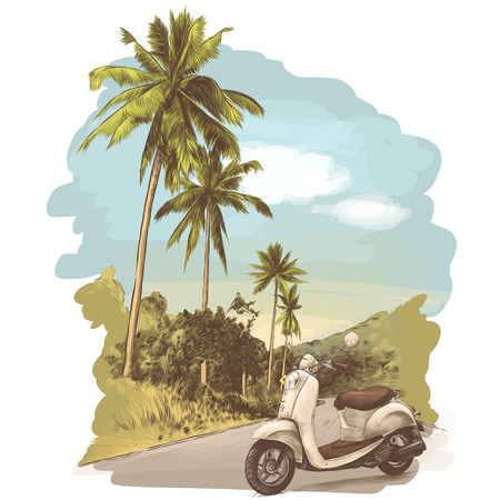 retro bike stands on the road, jungle with palm trees on the edges, sketch vector graphics colored drawing