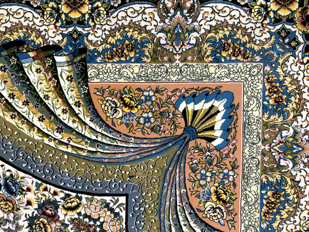 carpets woven by hand with colorful patterns of beautiful hard work and a lot of small details 스톡 콘텐츠