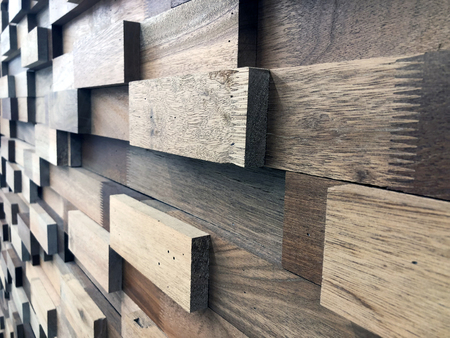 decorative wall of wooden rectangles made of wood of different colors Zdjęcie Seryjne