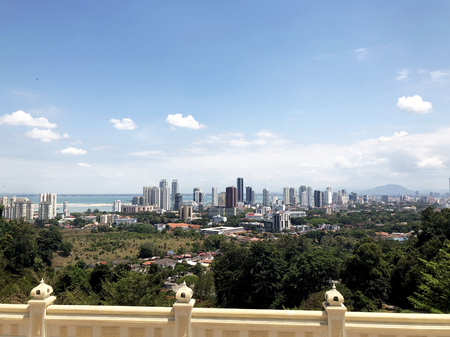 view of the city from the observation deck of the skyscrapers of George town on Penang island in Malaysia Stock Photo