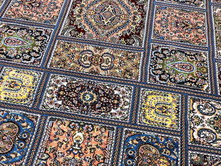 carpets woven by hand with colorful patterns of beautiful hard work and a lot of small details Foto de archivo