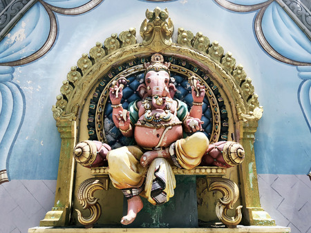 Ganesha sculpture on the wall of an Indian temple in Malaysia