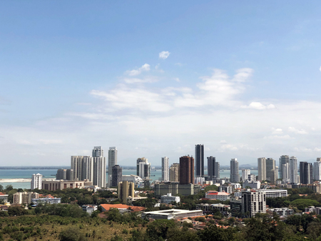 view of the city from the observation deck of the skyscrapers of George town on Penang island in Malaysia 免版税图像