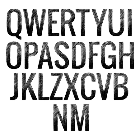 font capital letters of the English alphabet in the style of a quick careless pattern in the vector
