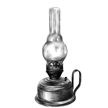 old rustic kerosene lamp sketch vector clip art graphics monochrome drawing Vettoriali