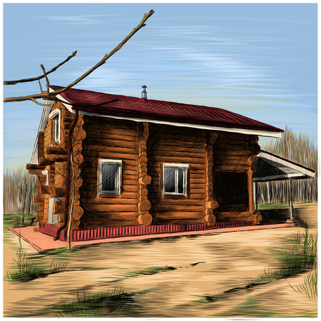 rustic country house made of logs sketch vector clip art graphics color picture Stockfoto
